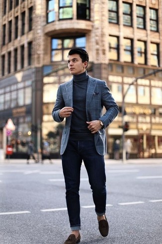 How to wear: dark brown suede tassel loafers, black skinny jeans, black turtleneck, grey check wool blazer