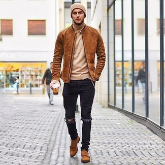 How to Wear Dress Shoes For Men: For an off-duty ensemble, Try teaming a tobacco suede bomber jacket with black ripped skinny jeans. And if you need to easily level up this ensemble with a pair of shoes, why not round off with dress shoes?
