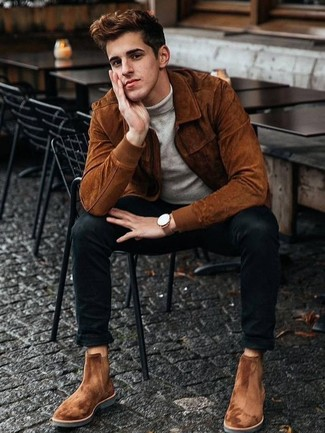 How to Wear a Tobacco Suede Bomber Jacket For Men: You're looking at the definitive proof that a tobacco suede bomber jacket and black skinny jeans are amazing when matched together in a laid-back look. Complement your ensemble with tobacco suede chelsea boots to avoid looking too casual.