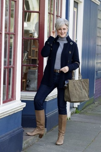 How to wear: tan leather knee high boots, navy skinny jeans, grey turtleneck, navy knit cardigan