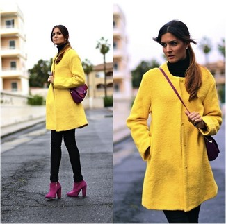 How to wear: purple suede ankle boots, black skinny jeans, black turtleneck, yellow coat