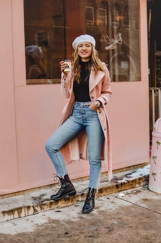 How to wear: black leather lace-up flat boots, light blue skinny jeans, black turtleneck, pink coat