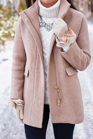 How to wear: beige wool gloves, black skinny jeans, white knit turtleneck, pink coat