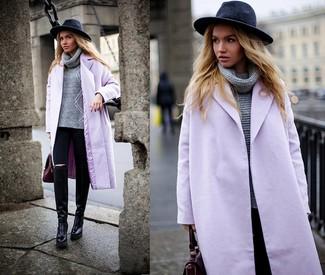 How to wear: black leather knee high boots, black skinny jeans, grey knit turtleneck, light violet coat