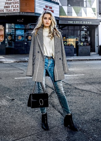 How to wear: black leather ankle boots, blue skinny jeans, beige turtleneck, black and white houndstooth double breasted blazer