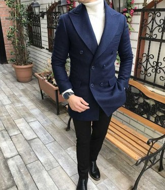 How to wear: black leather chelsea boots, black skinny jeans, white turtleneck, navy wool double breasted blazer