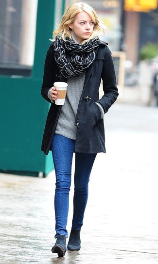 How to wear: navy suede ankle boots, blue skinny jeans, grey turtleneck, black duffle coat