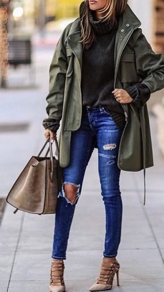 How to wear: beige suede pumps, blue ripped skinny jeans, charcoal knit turtleneck, olive fishtail parka