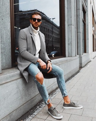 How to wear: grey suede low top sneakers, light blue ripped skinny jeans, white knit turtleneck, black and white gingham overcoat
