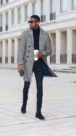 How to Wear a Grey Herringbone Overcoat: Perfect the casually stylish getup by opting for a grey herringbone overcoat and navy skinny jeans. If you want to easily step up this outfit with one piece, why not introduce a pair of black suede chelsea boots to the equation?