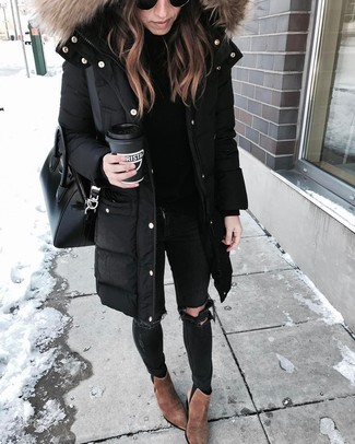 How to wear: brown suede ankle boots, black ripped skinny jeans, black turtleneck, black parka