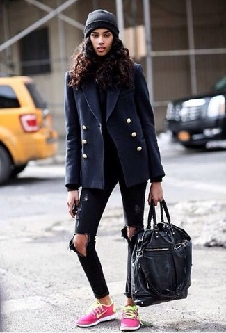 How to wear: hot pink low top sneakers, black ripped skinny jeans, black turtleneck, navy pea coat