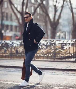 How to wear: white low top sneakers, navy skinny jeans, grey turtleneck, navy pea coat