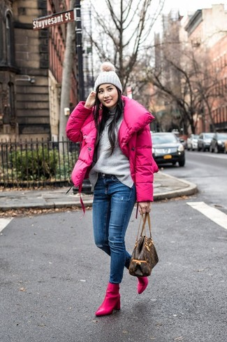 How to wear: hot pink leather ankle boots, blue ripped skinny jeans, grey turtleneck, hot pink puffer jacket