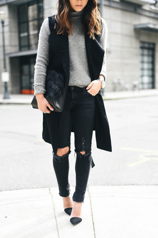 How to wear: black suede pumps, black ripped skinny jeans, grey knit turtleneck, black sleeveless coat
