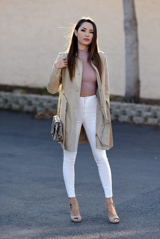 How to wear: beige leather gladiator sandals, white skinny jeans, pink turtleneck, beige trenchcoat