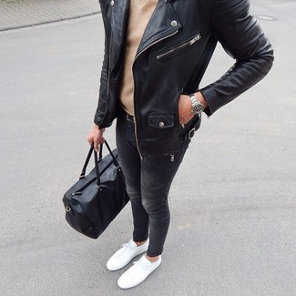 How to wear: white low top sneakers, charcoal skinny jeans, tan v-neck sweater, black leather biker jacket