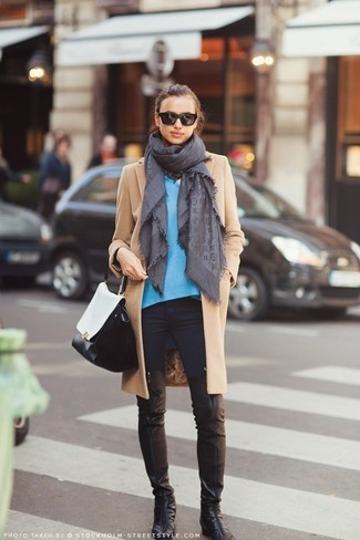 How to wear: black leather over the knee boots, black skinny jeans, blue v-neck sweater, camel coat
