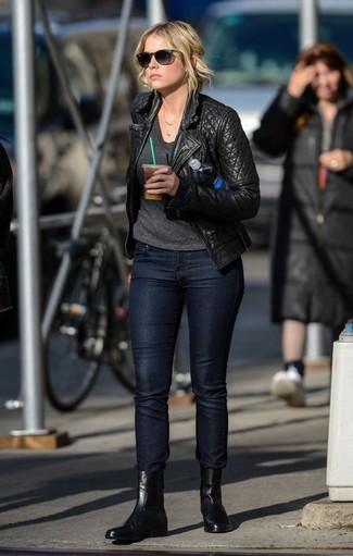 How to Wear a Black Quilted Leather Biker Jacket For Women: This combination of a black quilted leather biker jacket and black skinny jeans is solid proof that a safe casual ensemble can still look really interesting. If you don't know how to round off, a pair of black leather chelsea boots is a wonderful pick.