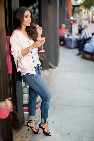 How to wear: black suede heeled sandals, blue skinny jeans, white print v-neck t-shirt, pink satin bomber jacket
