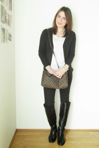 How to wear: black leather knee high boots, black skinny jeans, white v-neck t-shirt, black cardigan