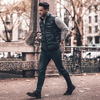 How to wear: black suede dress boots, navy skinny jeans, grey zip neck sweater, black gilet