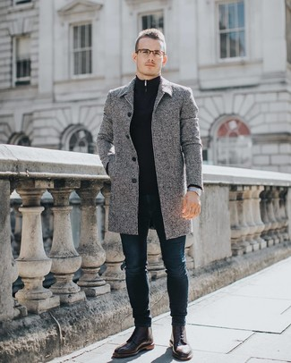 How To Wear Navy Skinny Jeans With a Grey Overcoat: For a cool and casual look, go for a grey overcoat and navy skinny jeans — these pieces work really well together. Burgundy leather brogue boots will infuse a dose of class into an otherwise utilitarian getup.