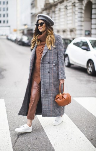 How to wear: white leather low top sneakers, brown leather skinny pants, tobacco cowl-neck sweater, grey plaid coat