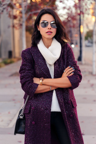 How to wear: black leather crossbody bag, black skinny pants, white cowl-neck sweater, dark purple coat