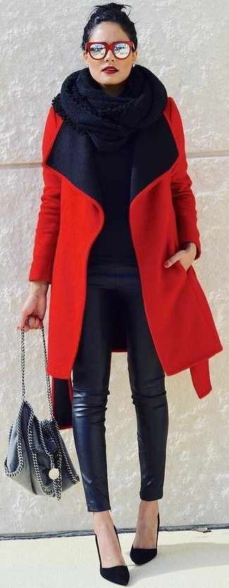 How to wear: black suede pumps, black leather skinny pants, black crew-neck sweater, red coat