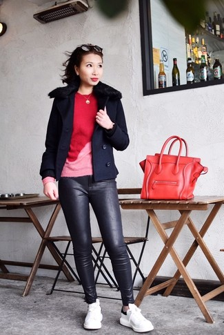 How to wear: white and black leather low top sneakers, black leather skinny pants, red crew-neck sweater, navy pea coat