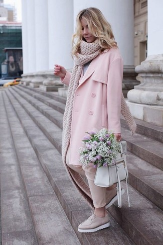 How to wear: beige leather platform loafers, beige skinny pants, grey crew-neck sweater, pink trenchcoat