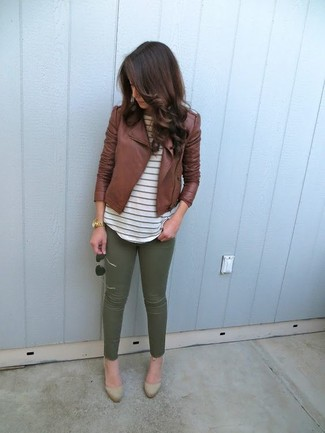 How to wear: tan suede pumps, olive skinny pants, white horizontal striped crew-neck t-shirt, brown leather biker jacket
