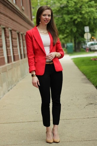 How to wear: tan leather pumps, black skinny pants, white horizontal striped crew-neck t-shirt, red blazer