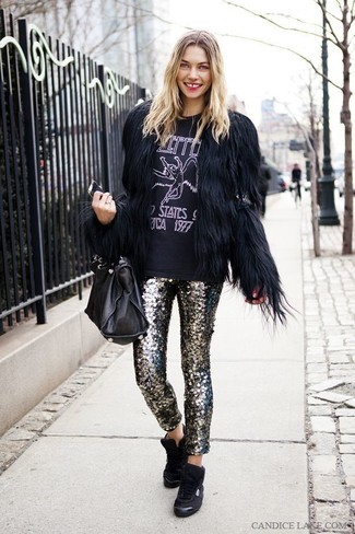 How to wear: black high top sneakers, silver sequin skinny pants, black and white print crew-neck t-shirt, black fur jacket