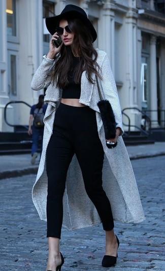 How to wear: black suede pumps, black skinny pants, black cropped top, grey coat