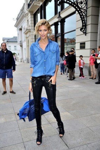 How to wear: black suede lace-up ankle boots, black sequin skinny pants, blue denim shirt, blue blazer