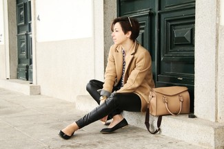 How to wear: black leather ballerina shoes, black leather skinny pants, white and navy gingham dress shirt, camel coat