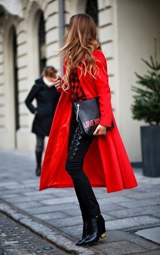 How to wear: black leather ankle boots, black skinny pants, red and black check dress shirt, red coat