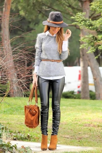 How to wear: tan suede ankle boots, black leather skinny pants, white dress shirt, grey fluffy crew-neck sweater
