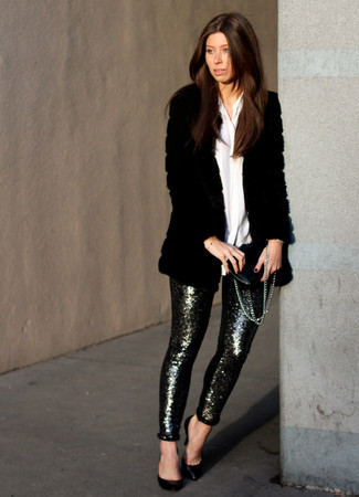 How to wear: black leather pumps, silver sequin skinny pants, white dress shirt, black fur coat