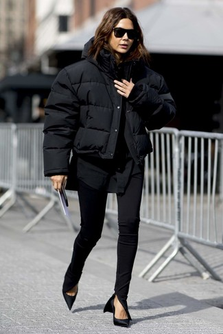 How to wear: black satin pumps, black skinny pants, black dress shirt, black puffer jacket