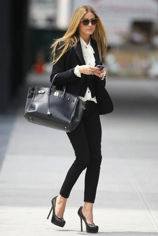 How to wear: black leather pumps, black skinny pants, white ruffle long sleeve blouse, black blazer