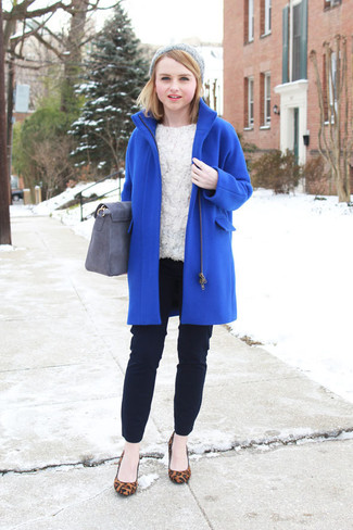 How to wear: brown leopard suede pumps, black skinny pants, white lace long sleeve blouse, blue coat