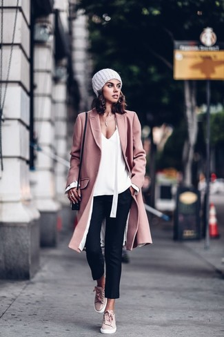 How to wear: pink suede low top sneakers, black skinny pants, white long sleeve blouse, pink coat