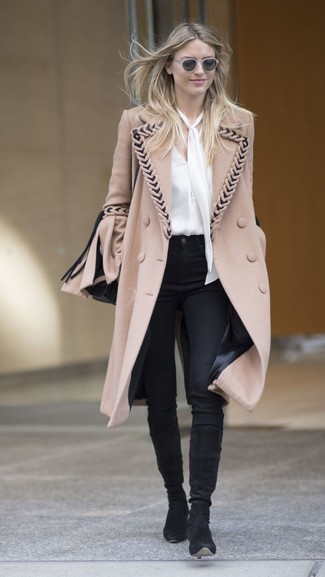 How to wear: black suede knee high boots, black skinny pants, white silk long sleeve blouse, camel coat