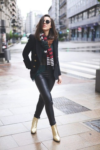 How to wear: gold leather ankle boots, black leather skinny pants, dark green long sleeve blouse, black pea coat
