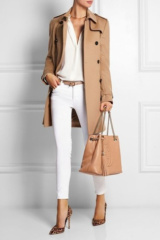 How to wear: tan leopard suede pumps, white skinny pants, white silk long sleeve blouse, tan trenchcoat