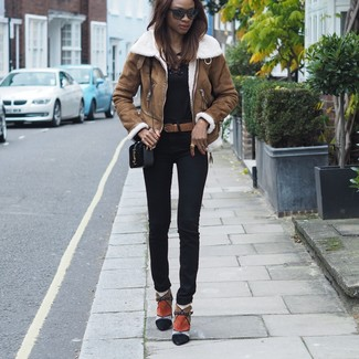 How to wear: multi colored suede ankle boots, black skinny pants, black long sleeve t-shirt, brown shearling jacket