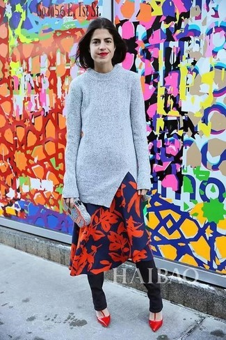 How to wear: red leather pumps, black skinny pants, navy and red floral midi dress, grey crew-neck sweater